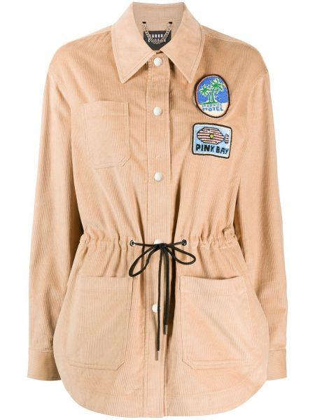 Классическая рубашка с воротником вельветовая на пуговицах с нашивками Markus Lupfer