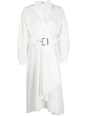 Шелковое белое платье миди с запахом Brunello Cucinelli