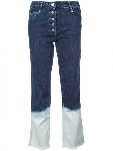 Классические хлопковые синие прямые джинсы на пуговицах Miaou