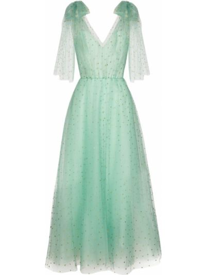 Платье миди из фатина - зеленое Monique Lhuillier