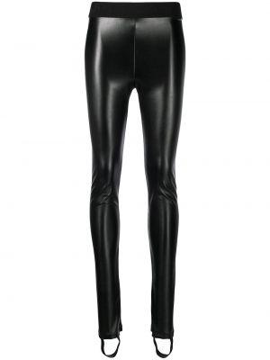 Черные кожаные леггинсы эластичные Just Cavalli