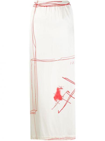 Белая шелковая прямая юбка макси с поясом Barbara Bologna