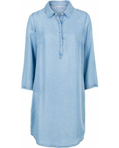 Джинсовое платье на кнопках с кокеткой Bonprix