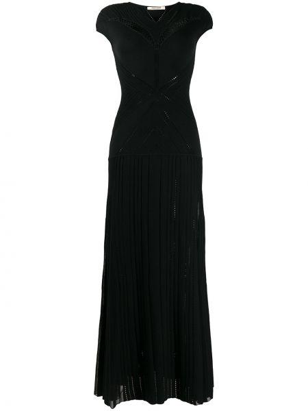 Черное нейлоновое платье макси с перфорацией с V-образным вырезом Roberto Cavalli