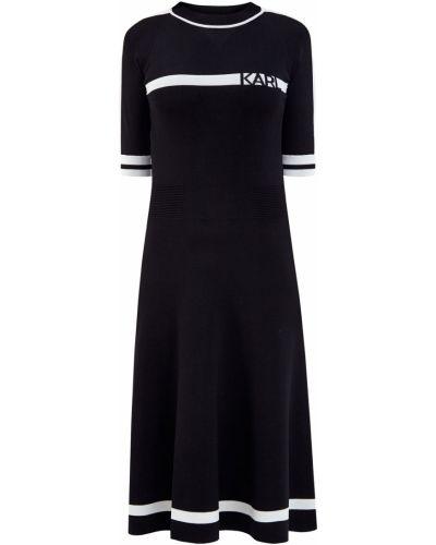 Трикотажное платье миди - черное Karl Lagerfeld
