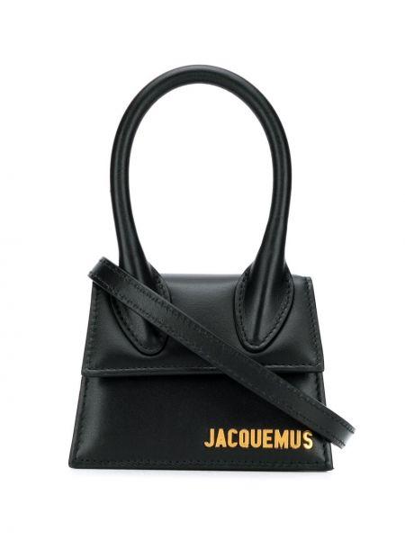 Z paskiem czarny mini torebka z prawdziwej skóry z łatami Jacquemus