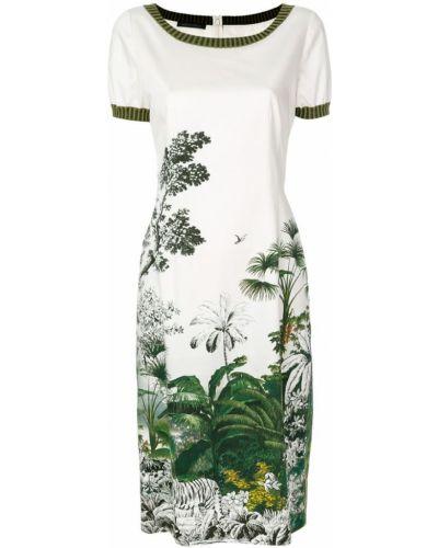 Белое хлопковое платье с цветочным принтом Alberta Ferretti