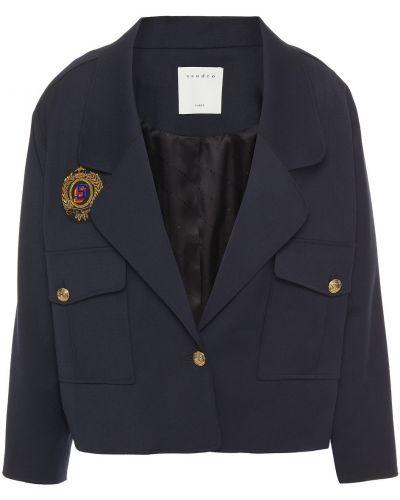 Шерстяная куртка с подкладкой с заплатками Sandro