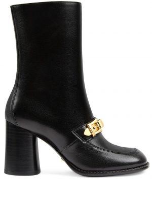 Skórzany czarny buty na wysokości okrągły na pięcie Gucci