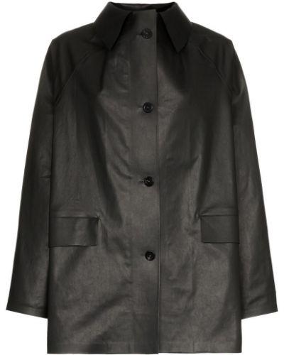 Черное пальто с капюшоном на пуговицах Kassl