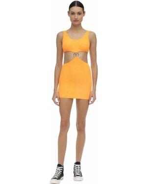 Оранжевое платье мини с декольте без рукавов металлическое Filles A Papa