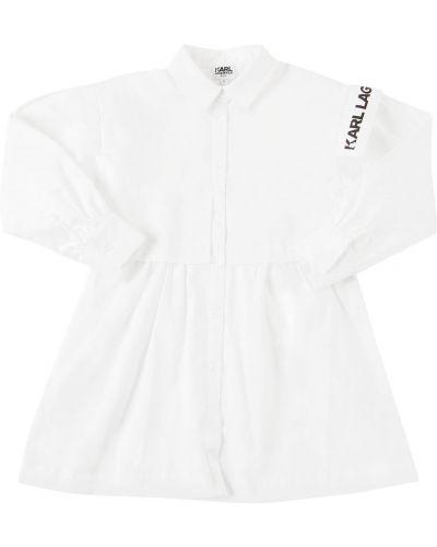 Хлопковое белое платье с манжетами Karl Lagerfeld