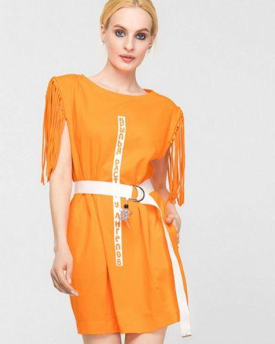 Оранжевое платье а-силуэта Lo