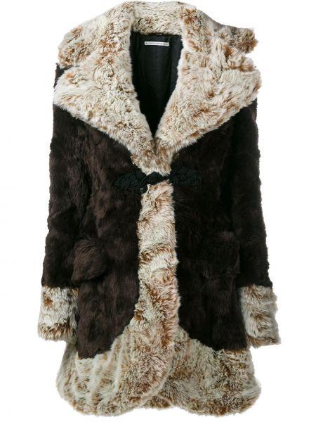 Brązowy płaszcz z akrylu z długimi rękawami Alessandra Rich