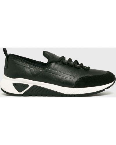 Кожаные кроссовки текстильные на шнуровке Diesel