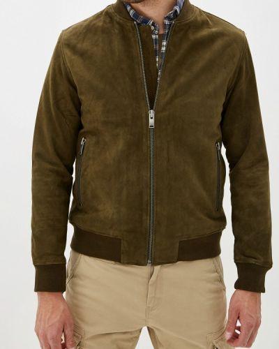 Кожаная куртка осенняя зеленая Selected Homme