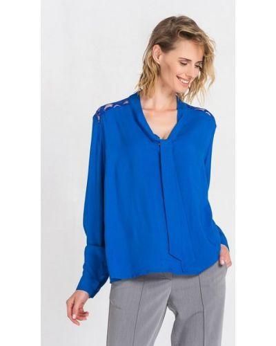 Синяя гипюровая блузка со вставками Vovk