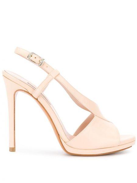 Różowe sandały skorzane klamry Albano