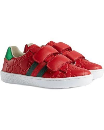 Кеды красные с логотипом Gucci Kids