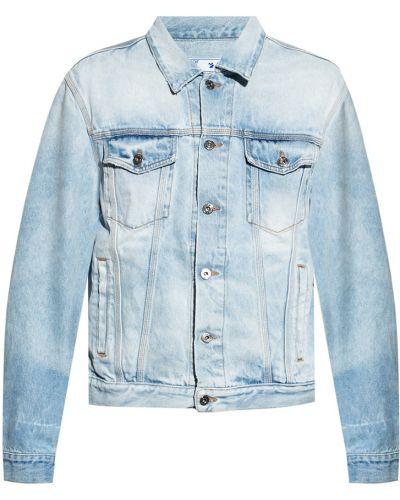 Kurtka jeansowa z printem - biała Off-white