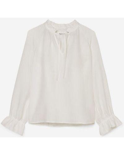 Biała bluzka bawełniana z dekoltem w serek Marc O Polo