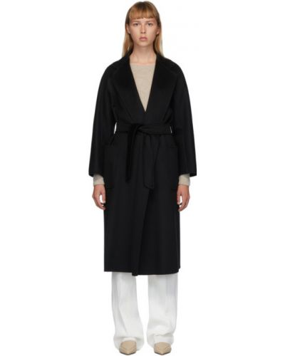 Открытое черное длинное пальто с поясом с воротником Max Mara