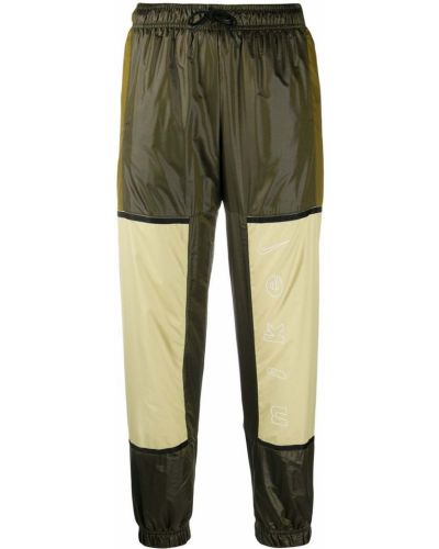 Зеленые нейлоновые брюки с завязками с высокой посадкой Nike