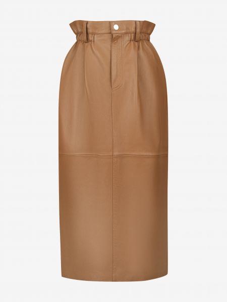 Бежевая юбка миди в рубчик из натуральной кожи 12storeez