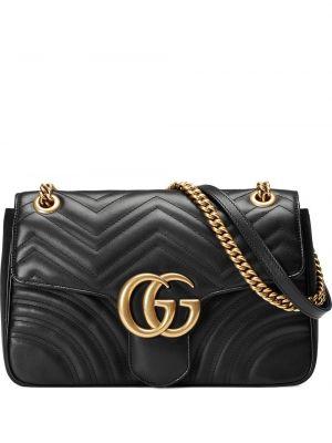 Черная стеганая кожаная сумка металлическая Gucci