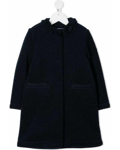 С рукавами синее шерстяное длинное пальто Il Gufo