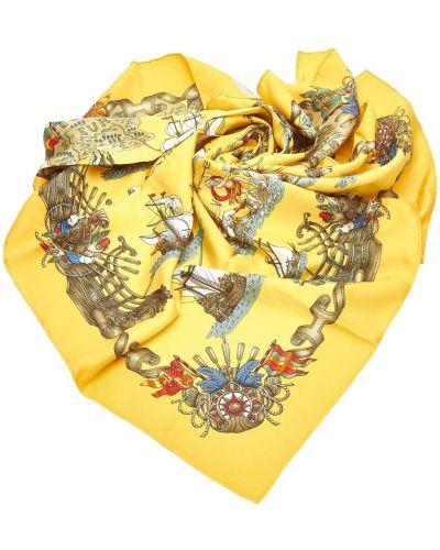 Złoty żółty szalik z printem Hermès Vintage