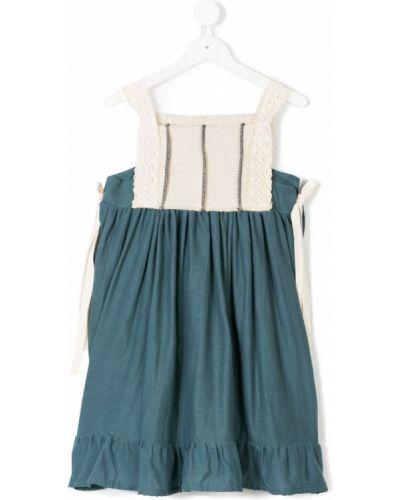 Платье с рукавами без рукавов синий Belle Chiara