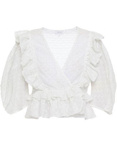 Biała bluzka kopertowa bawełniana Rhode