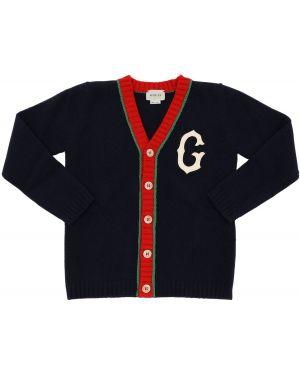 Prążkowany kardigan wełniany z haftem Gucci