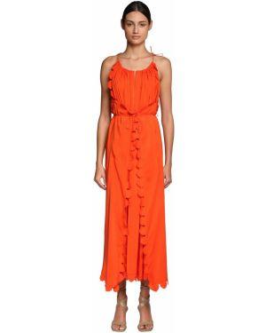 Платье с поясом в полоску из вискозы Stella Mccartney