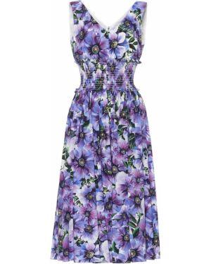 Летнее платье миди с цветочным принтом Dolce & Gabbana