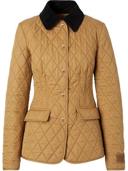 С рукавами коричневая стеганая куртка Burberry