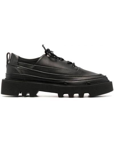 Czarne sneakersy sznurowane płaska podeszwa Rombaut