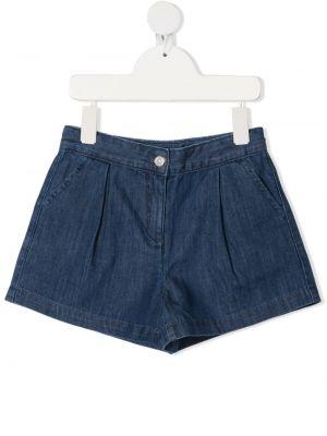 Хлопковые синие джинсовые шорты с карманами Knot