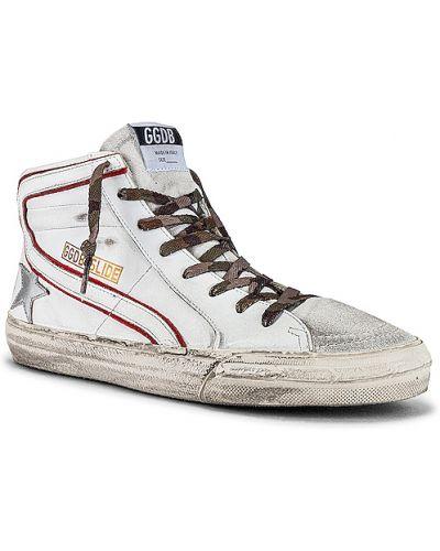 Biały koronkowa skórzany sneakersy zasznurować Golden Goose