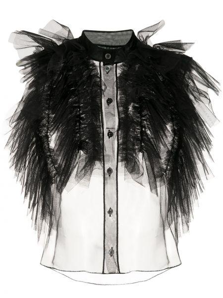 Блузка без рукавов с оборками с воротником прозрачная на пуговицах Viktor & Rolf