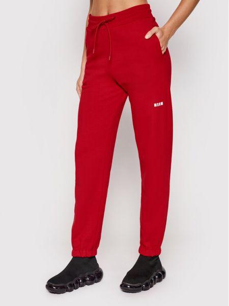 Czerwone spodnie dresowe Msgm