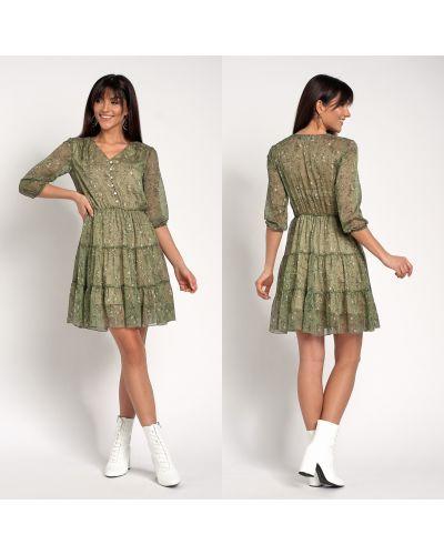 Шифоновое платье мини - черное Sl-artmon