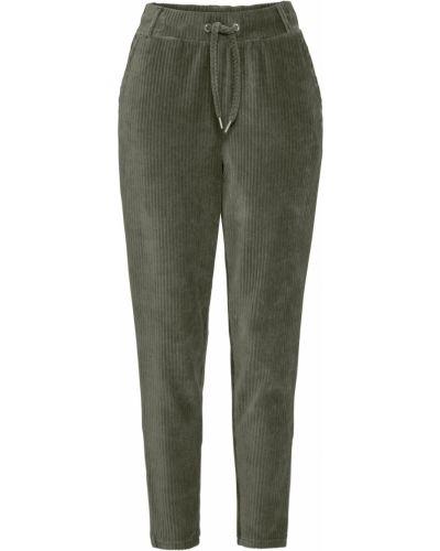 Зеленые брюки вельветовые на резинке Bonprix