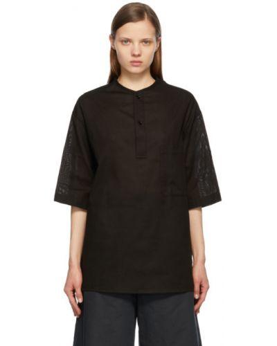 Czarny t-shirt bawełniany krótki rękaw Lemaire