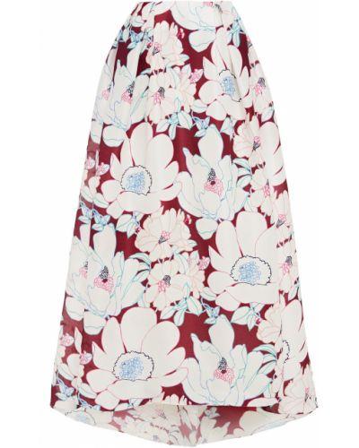 Biała spódnica maxi z jedwabiu z printem Carolina Herrera