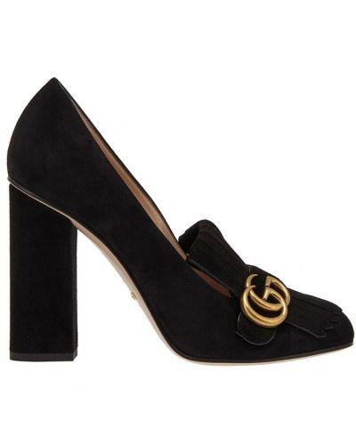 Туфли на каблуке черные замшевые Gucci