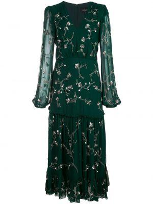 Зеленое расклешенное шелковое платье на молнии Saloni