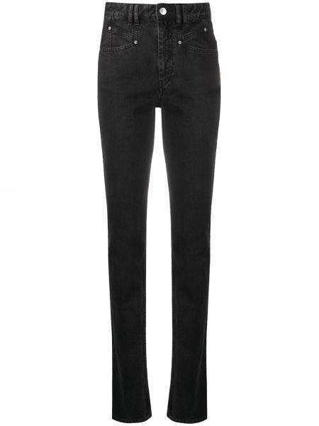 Bawełna czarny jeansy na wysokości z kieszeniami chudy Isabel Marant