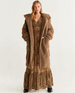 Пальто с капюшоном длинное из овчины Mango